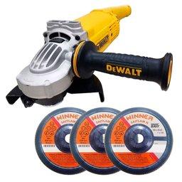 Kit Esmerilhadeira Angular DEWALT-DWE497 7Pol. 180mm 2600W 220V + 3 Discos Flap Zircônio SAIT-KNZ49807 Grão 60