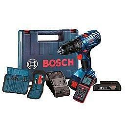 Kit Parafusadeira/Furadeira de Impacto 1/2 Pol. Bosch GSB180LIAC + Trena Laser Digital