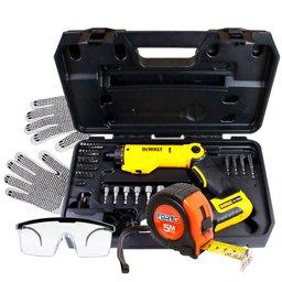 Kit Parafusadeira à Bateria 6V Bivolt 45 Peças e Maleta Dewalt DCF060 + Trena FG030 + Óculos e Luva de Segurança