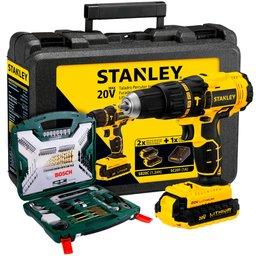 Kit Parafusadeira/Furadeira de Impacto 1/2 Pol. Stanley SCH20C2K + Kit de Ferramentas X-Line T 103 Peças