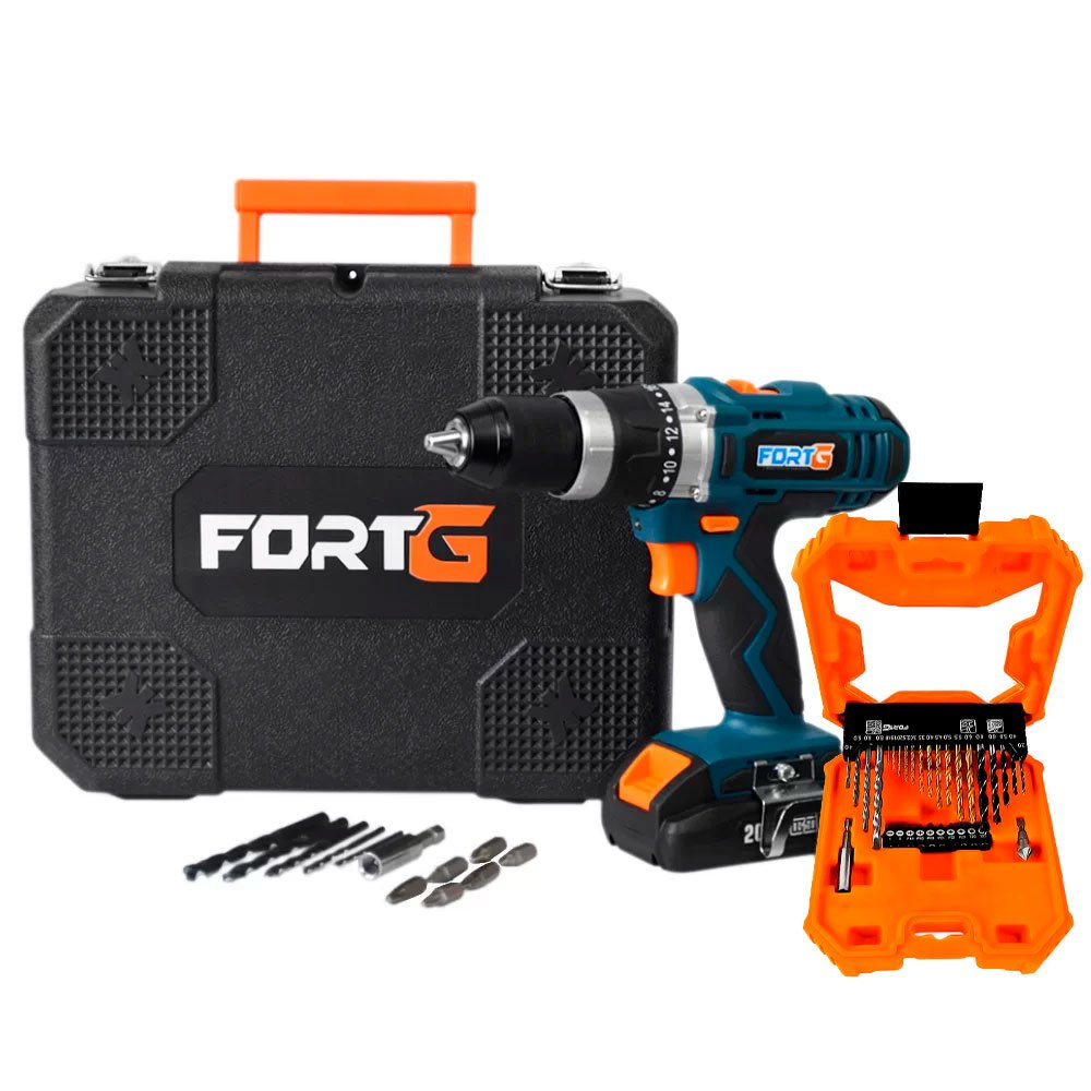 Kit Furadeira/ Parafusadeira de Impacto FORTG-FG3000 20V + Jogo de Brocas e Bits 32 Peças e Maleta