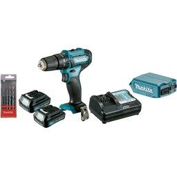 Kit Parafusadeira / Furadeira de Impacto 12V com Carregador 2 Baterias 12V 1.5 Ah Lition Adaptador USB e Kit Broca