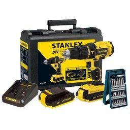 Kit Parafusadeira Stanley SCH20C2K 1/2 Pol. 20V com 2 Baterias 20V Lítio 1,3Ah + Jogo de Bits Mini X- Line Bosch 2607017400-000 25 Peças