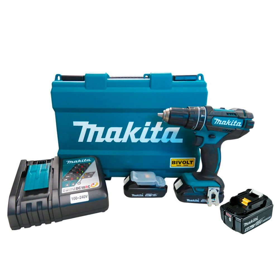 Kit Parafusadeira/Furadeira de Impacto 18V Makita DHP482RAE-BIVOLT + Bateria Íons Lítio 5.0 Ah 18V Makita BL1850B