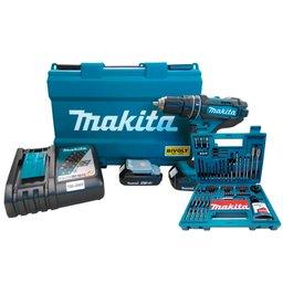 Kit Parafusadeira Makita DHP482RAE-BIVOLT 18V com 2 Baterias e Carregador Rápido  + Jogo de Acessórios Makita B-54879 100 Peças