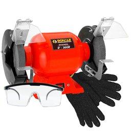 Kit Moto Esmeril de Bancada 6 Pol.  Schulz 911025 + Óculos de Proteção + Luva de Segurança