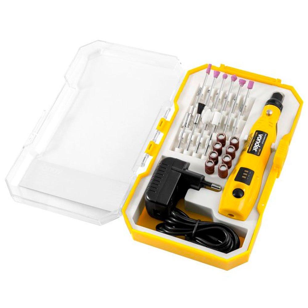 Micro Retífica a Bateria 3,6V com Carregador Bivolt e 24 Acessórios