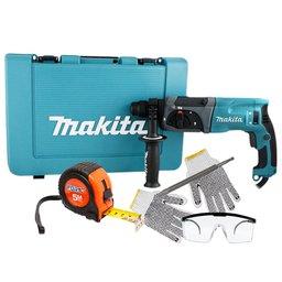 Kit Martelete Combinado 220V MAKITA HR2470 + Ponteiro SDS Plus + Trena de 5 Metros + Óculos de Proteção Incolor + Luva Tricotada