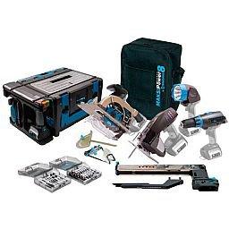Kit Multi Função Maksipower 8  à Bateria 18V Bivolt com Furadeira/Parafusadeira, Serra Circular, Serra Tico-Tico, Lanterna e Bancada