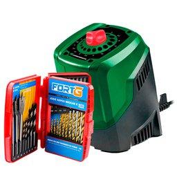 Kit Afiador de Brocas CARBOGRAFITE-0125 de 3 a 10mm  + Jogo de Brocas e Bits com 52 Peças FORTGPRO-FG036