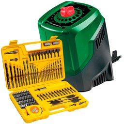 Kit Afiador de Brocas CARBOGRAFITE-0125 de 3 a 10mm  + Jogo de Brocas e Bits com 110 Peças - FORTGPRO-FG8908