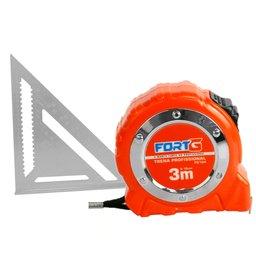 Kit Esquadro Triangular FORTGPRO-FG156 12 Pol. + Trena Profissional 3m x 16mm