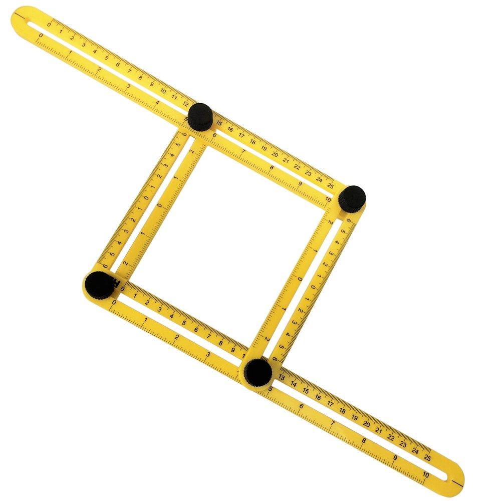 Esquadro Ajustável Plástico Multiângulos com 4 Réguas
