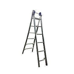 Escada Extensiva 4 em 1 em Alumínio 2 x 6 Degraus