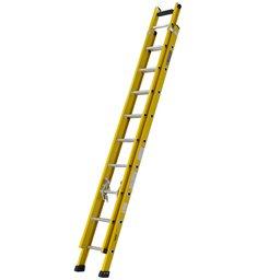 Escada Extensível Vazada Industrial 13 Degraus Úteis 4,20 Metros em Fibra de Vidro