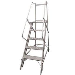 Escada Plataforma Trepadeira TRE 4 Degraus 1,25m com 2 Rodas