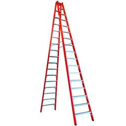 Escada Tesoura Dupla em Fibra 17 Degraus 5,10 Metros