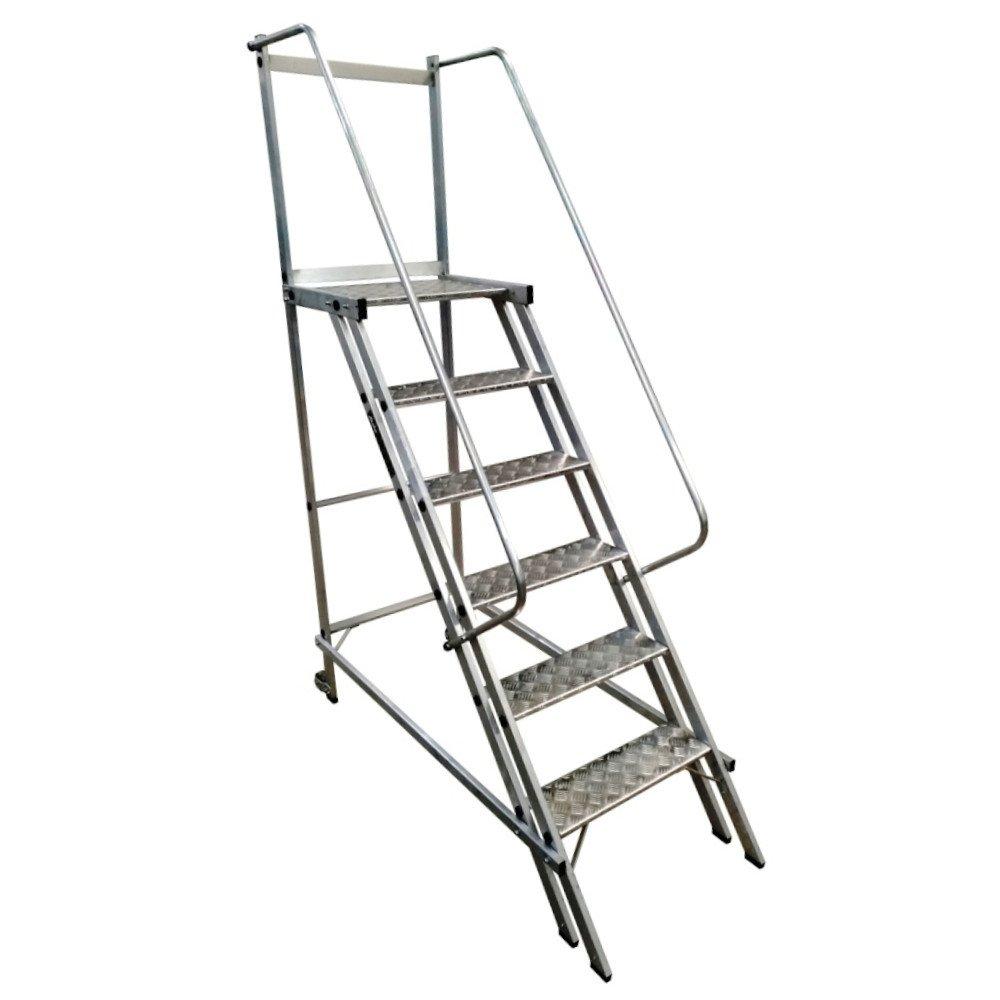 Escada Plataforma Trepadeira 1,50m 5 Degraus com 2 Rodas Traseiras
