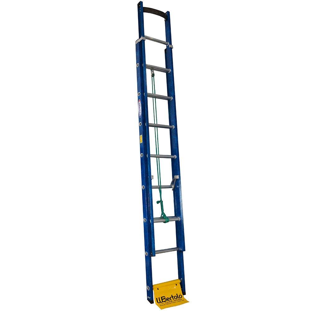 Escada Extensível Premium 13 Degraus Tipo D em Alumínio e Fibra Vazada 2,60 x 4,10 Metros