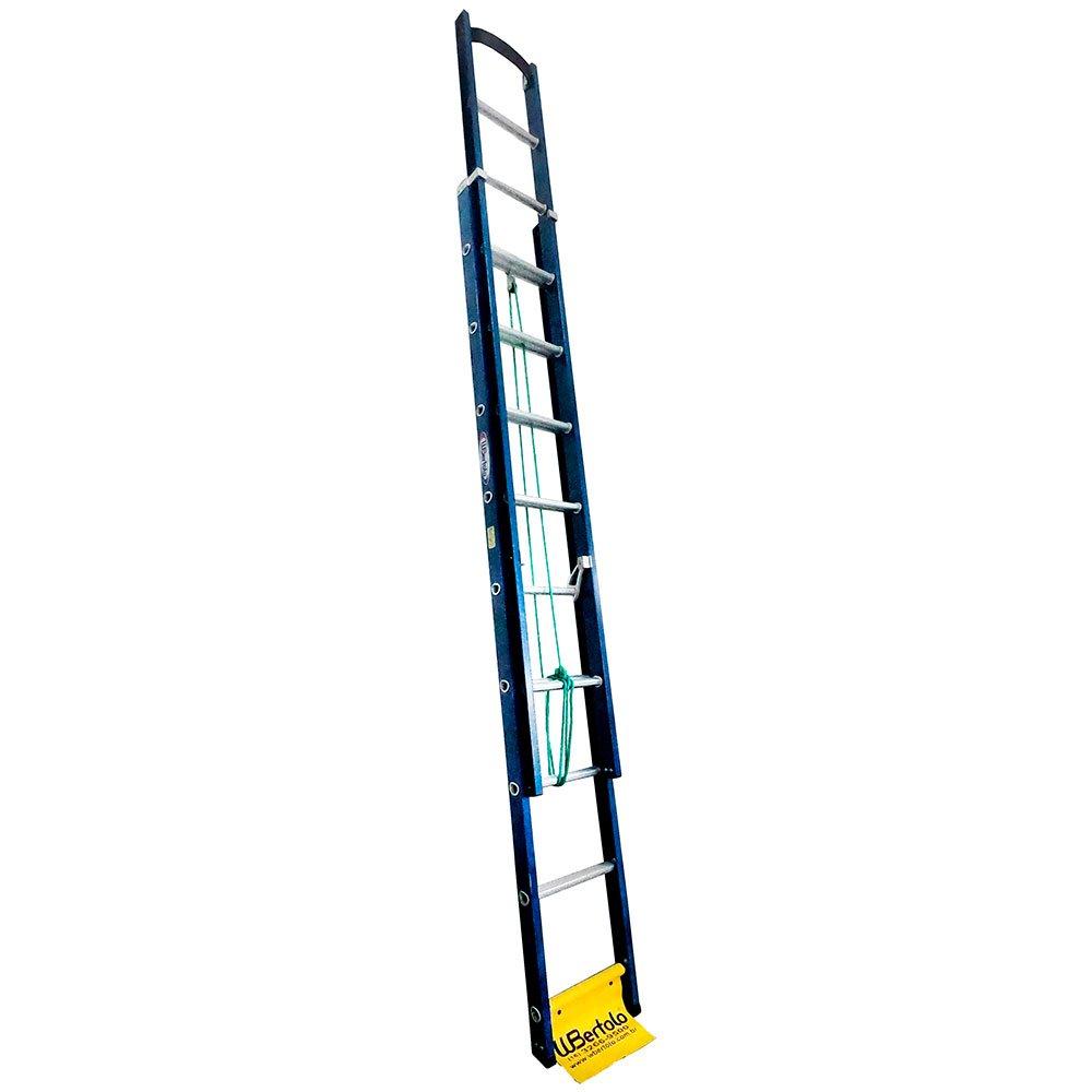 Escada Extensível Premium 15 Degraus Tipo D em Alumínio e Fibra Vazada 2,90 x 4,70 Metros
