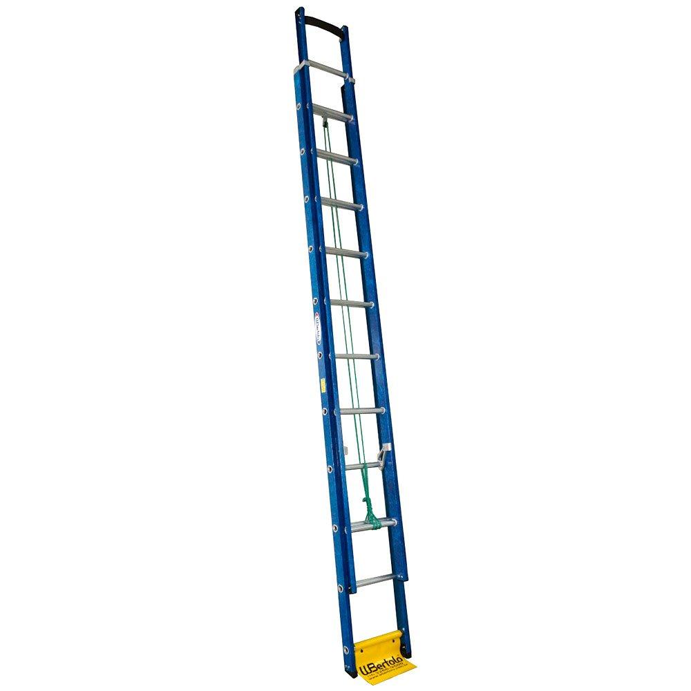 Escada Extensível Premium 19 Degraus Tipo D em Alumínio e Fibra Vazada 3,50 x 5,90 Metros