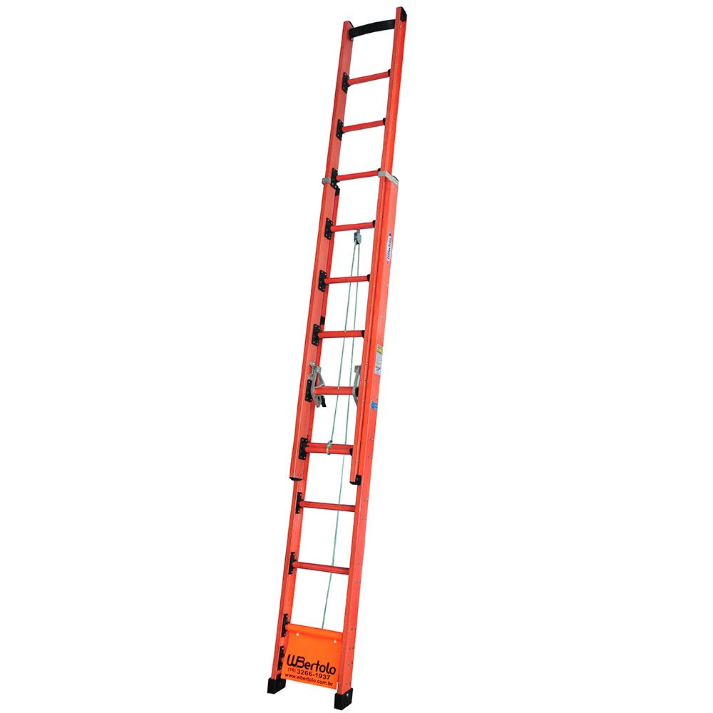 Escada Extensível Fibra de Vidro Isolda Rebitada 29 Degraus 5,10 x 9,00m Suporte Cartola