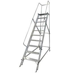 Escada Plataforma Trepadeira 2,50m 9 Degraus com 2 Rodas