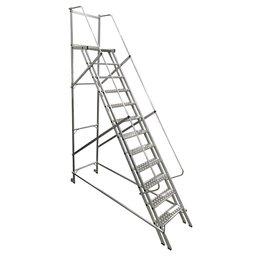 Escada Plataforma Trepadeira 3,0m 11 Degraus com 2 Rodas