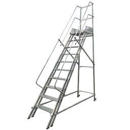 Escada Plataforma Trepadeira NR12 2,50m 9 Degraus com 2 Rodas