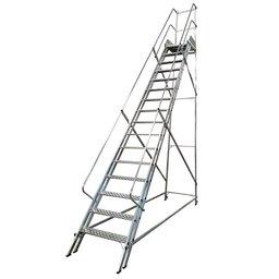 Escada Plataforma Trepadeira 4,0m 15 Degraus com 2 Rodas