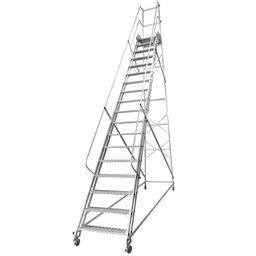 Escada Plataforma Trepadeira NR12 4,50m 17 Degraus com 4 Rodas
