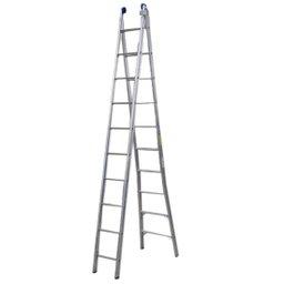 Escada Extensível 2 Partes de 10 Degraus em Alumínio