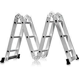 Escada Multifuncional 4x3 em Aço e Alumínio 12 Degraus