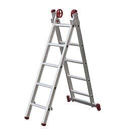 Escada Extensiva 3 em 1 em Alumínio 5 x 2 Degraus