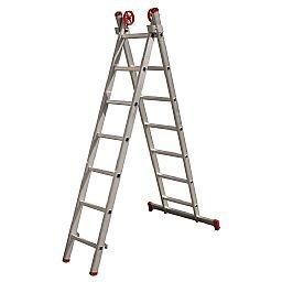 Escada Extensiva 3 em 1 em Alumínio 7 x 2 Degraus