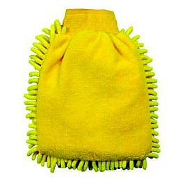 Esponja tipo Luva em Microfibra Amarela 250 x 180mm para Limpeza