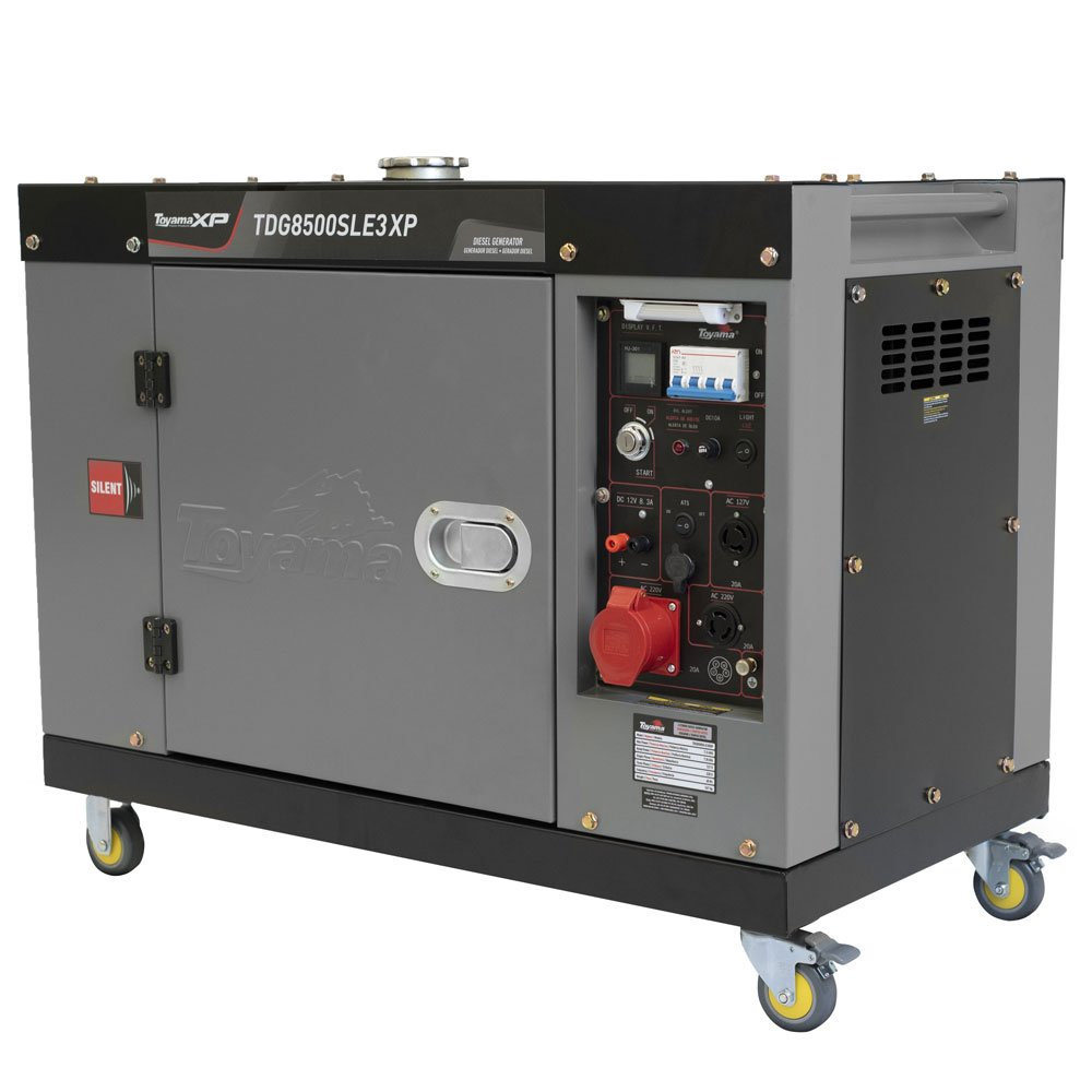 Gerador de Energia Cabinado a Diesel 4T 498cc 7,5KVA Trifásico 380V Partida Elétrica