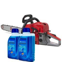 Kit Motosserra à Gasolina 2T 49,3CC Sabre de 18 Pol. BMT52 Branco 90314710 + 2 x Lubrificantes Premium 500ml