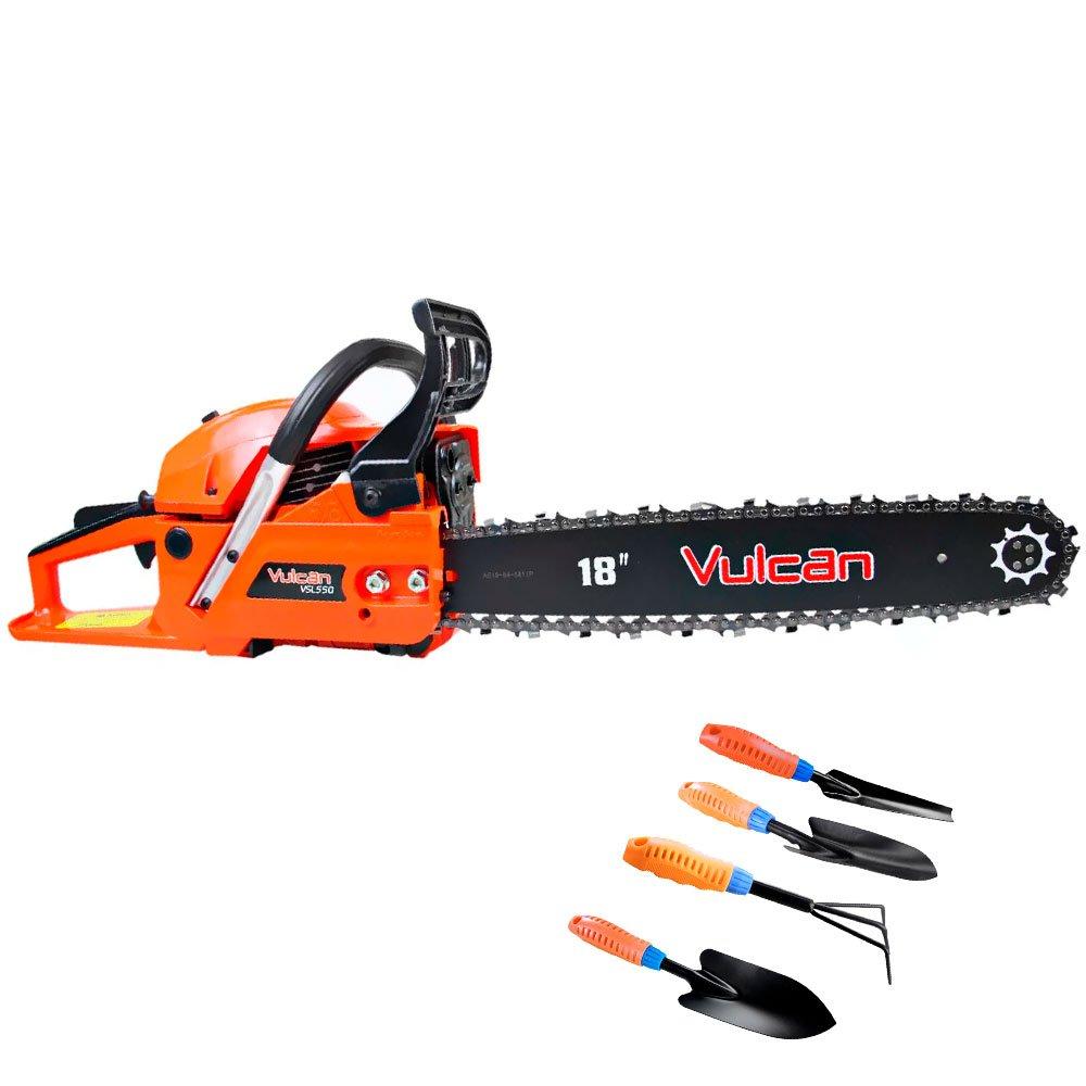 Kit Motosserra à Gasolina VULCAN-VSL550 55CC 18 Pol.+ Kit Jardinagem 4 Peças
