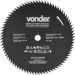Lâmina Circular sem Vídea para Roçadeiras 255 mm  x 20 mm  80 Dentes