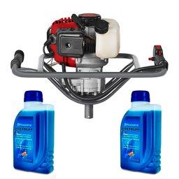 Kit Perfurador de Solo à Gasolina 52CC BPS 52 Branco 90314500 + 2 x Lubrificantes Premium 500ml para Motores 2T