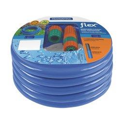 Mangueira Flex Azul em PVC 2 Camadas com Engates rosqueados e Esguicho 15 m