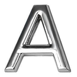 Letra A 39mm em ABS Cromada
