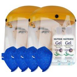 Kit 2 Protetores Facial Hospitalar 8 Pol. UMP-10893 + 4 Máscaras Respiratória N95 Antiviral PFF2 + 2 Álcool em Gel 70% 90g