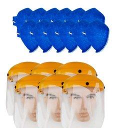 Kit 6 Protetores Faciais UMP-10893 8 Pol. + 12 Máscaras Respiratórias Antiviral sem Válvula