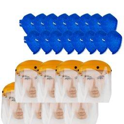 Kit 8 Protetores Faciais UMP-10893 8 Pol. + 16 Máscaras Respiratórias Antiviral sem Válvula