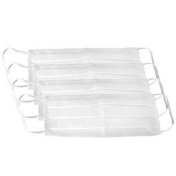 Kit 4 Máscaras Respirável Dupla 100% Algodão Branca Lavável