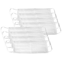 Kit 8 Máscaras Respirável Dupla 100% Algodão Branca Lavável