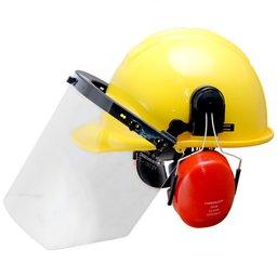 Capacete Evolution Amarelo com Protetor Facial e Abafador CG 108