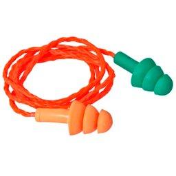 Protetor Auricular Bicolor Tipo Plug de Silicone com Cordão em Algodão